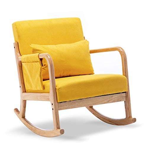 Apelila Rocking Chair, Mid Century High Back Armchair Modern Glider Rocker Upholstered Fabric Padded Seat Side Pocket Pillow for Nursery (Yellow)