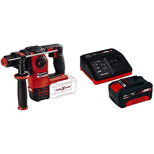 Einhell HEROCCO Martillo perforador inalámbrico, no Incluye batería, 18 V, Negro, Rojo + Power X-Change - Kit cargador con batería (18 V, 3.0 Ah, tiempo de carga de 60 minutos)