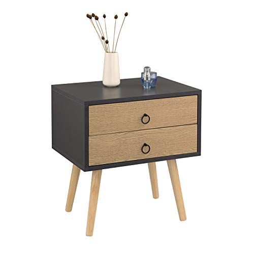 eSituro SCD0092 Table de Chevet Table d'appoint avec tiroir à Compartiments en aggloméré et Bois Massif,Gris