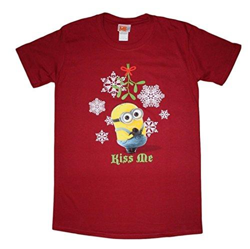 Ich - Einfach unverbesserlich (Minions) - Kiss Me (Mistletoe, Weihnachten) - Offizielles Herren T-Shirt - Rot, Small