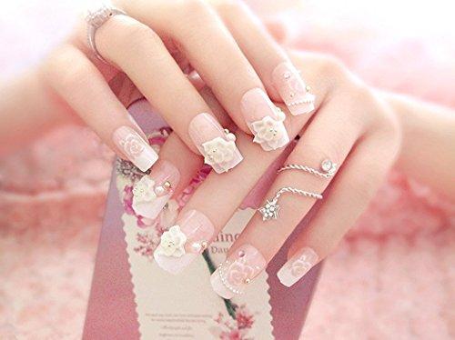Jovono elegante künstliche Fingernägel, natürlicher Look, für Braut, ohne Klebstoff, Rosa