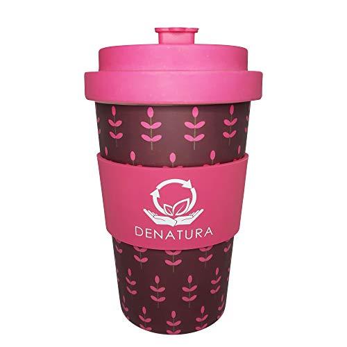 DENATURA Bambus Becher | 400ml Kaffeebecher verschließbar, wiederverwendbar | Zertifizierter Bambus Coffee-to-go Cup für Kaffee,Tee | Spülmaschinengeeignet, BPA frei