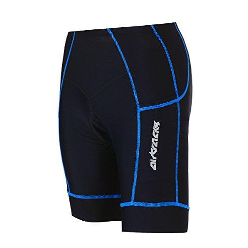 Airtracks Short de cyclisme Pro - Short de cyclisme - Rembourré Coolmax 3D - Respirant - Protection UV - Séchage rapide L noir/bleu