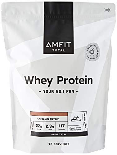 Amazon Brand - Amfit Nutrition Whey Protein Powder 2.27kg - Chocolate (Previously PBN brand)
