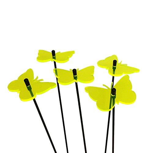 SunCatcher: zonnevanger 5-delige set 'vlinder' | fluorescerende tuindecoratie | 6 cm diameter met 25 cm staaf | tuinsteker cadeau, kleur: geel
