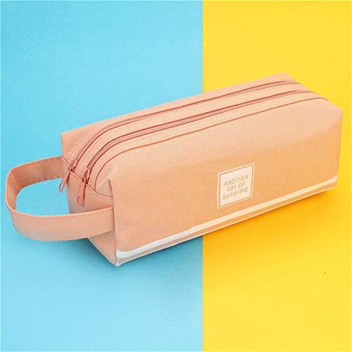 2020 Funda de lápiz PencilBox Estudiantes Tela grande Caja de lápiz creativo para oficina de oficina Suministros de papelería (Color : Pink)