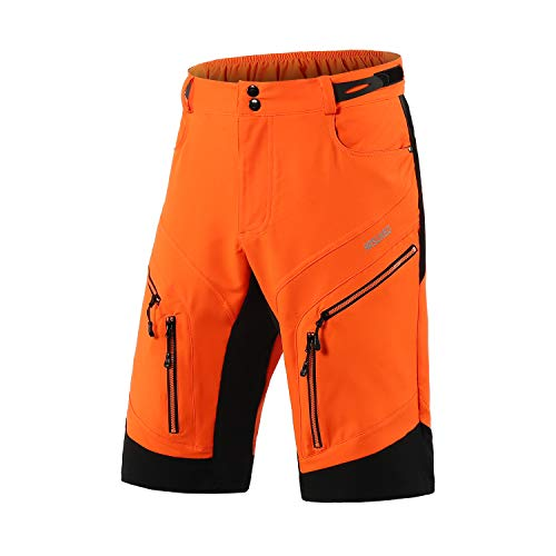 ARSUXEO Cycling Shorts Men's MTB Shorts Baggy Cycle Shorts Water Resistant with Zipper Pockets 1903 Orange XXL