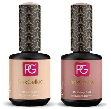 Pink Gellac Shellac Gel Nagellack 2er Set 30 ml für UV LED Lampe | 166 Vintage Nude Rosa Rose 15 ml + 165 Champagne Rosa 15 ml | Gel Nail Polish for UV Nail Lamp