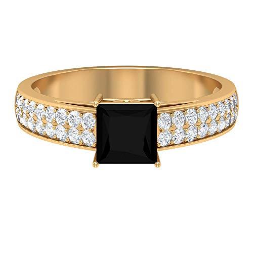 Anillo solitario de diamante negro de 1,25 CT creado en laboratorio con acento moissanita, anillos de compromiso para mujeres (5,5 mm de diamante negro de talla princesa), 14K Oro amarillo, Size:EU 53