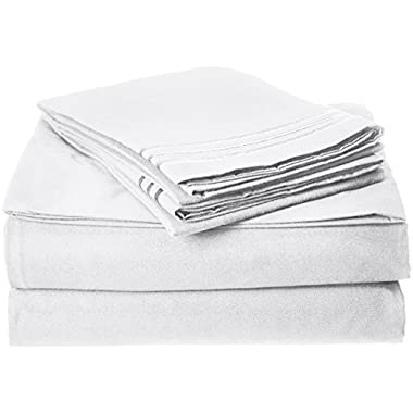 Elegant Comfort 1500 Thread Count Wrinkle,Fade and Stain Resistant 4-Piece Bed Sheet set, Deep Pocket, HypoAllergenic - King White