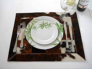 Tresbien Leather Placemats Brown-White Cowhide Placemats Real Cow Fur Skin Natural Hair Patchwork Leather Place Mat