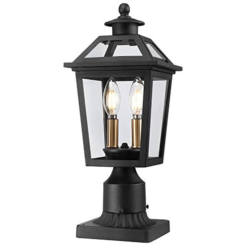 Beionxii Outdoor Post Lantern   Exterior Pier Mount Lights Pole Lamp with 3-Inch Base, Sand Textured Black with Clear Glass - A329P-1PK