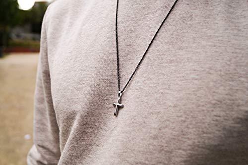 Halskette mit Kreuz für Herren - Kreuzkette Religiös Gun Metal Schwarz mit Silber Anhänger - Made by Nami Herrenkette - Dezente Handmade Kette (Kreuz, Gun Metal)