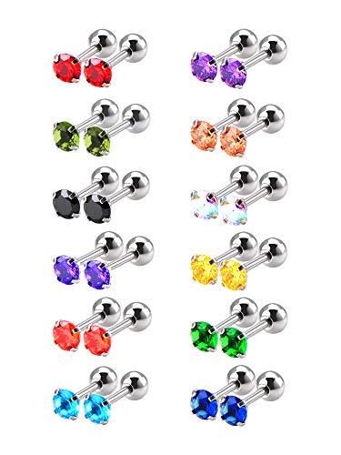 12 Paare 18 Gauge Edelstahl Kubisch Zirkonia Ohrringe Stud Helix Ohrstecker, 12 Farben
