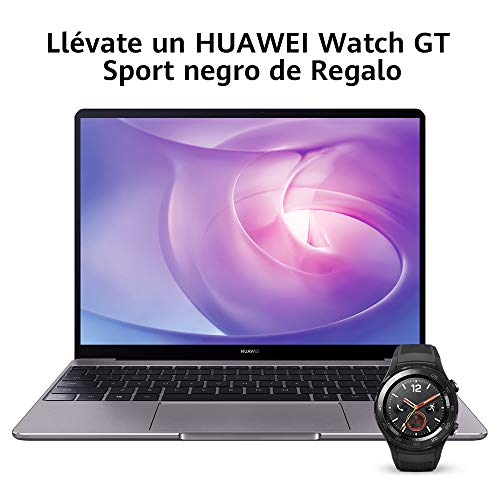 "Huawei Matebook 13 2020 - Ordenador portátil Ultrafino 13"" 2K (Intel Core i5-10210U, 8GB RAM, 512GB SSD, Windows 10 Home), Gris + Watch GT Sport Black, Teclado QWERTY Español"