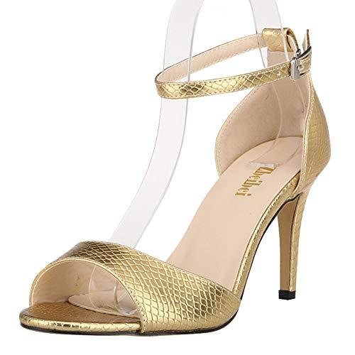 Damen maßgeschneiderte sexy Club Party Brautjungfer Arbeit Sandalen, Gold - gold - Größe: 37 EU