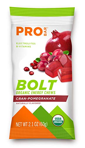 PROBAR - Bolt Organic Energy Chews, Cranberry Pomegranate, Non-GMO, Gluten-Free, USDA Certified Organic, Healthy, Natural Energy, Fast Fuel Gummies with Vitamins B & C (12 Count)