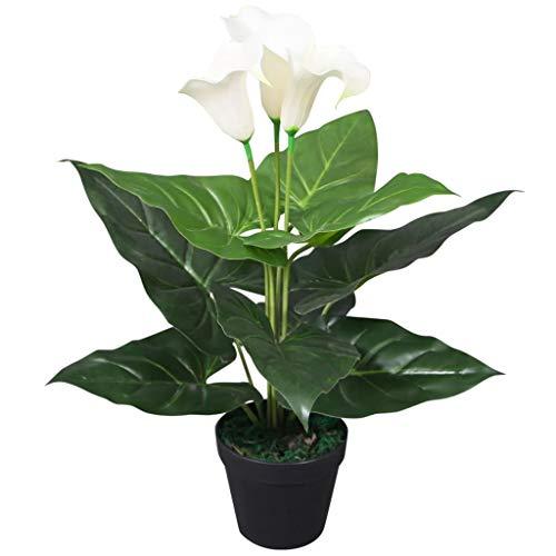 vidaXL Künstliche Calla-Lilie mit Topf 45cm Weiß Kunstpflanze Zimmerpflanze