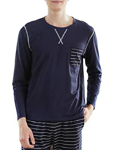 H&E&E - Conjunto de Pijama para Hombre Azul Azul Marino M