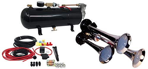 3 Trumpet Train Air Horn Kit - Fits Almost Any Vehicle: Truck, Car, Jeep or SUV. Includes Three Chrome Trumpets with All-in-One Air System: 110 PSI, 12-Volt Air Compressor, Tank, More. Complete Kit
