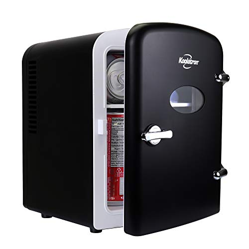 Koolatron KRT04-B Retro Personal Cooler 4 Liter/6 Can AC/DC Portable Mini Fridge, Thermoelectric Cooler in Black - for Cars, Homes, Offices, Bedroom and Dorms