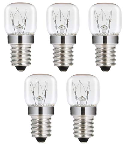 AcornSolution 15W T22 E14 230-240V SES Dimmbare klare GLS-Glühbirne für Kühl- und Gefrierschränke (5er-Pack)