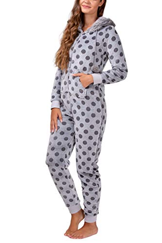 maluuna - Damen Fleece-Onesie mit Bündchen an Arm- und Beinabschluss, extrem kuscheliger Damen Jumpsuit, Overall mit Fell, Einteiler, Homewear, Farbe:grau, Größe:40/42