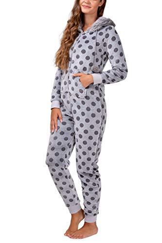 maluuna - Damen Fleece-Onesie mit Bündchen an Arm- und Beinabschluss, extrem kuscheliger Damen Jumpsuit, Overall mit Fell, Einteiler, Homewear, Farbe:grau, Größe:44-46