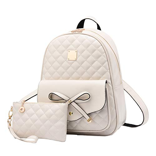 I IHAYNER Girls Bowknot 2-PCS Fashion Backpack Cute Mini Leather Backpack Purse for Women Beige