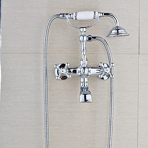 RWJFH Sistema de Ducha Grifo de Lavabo de bañera de Doble manija de baño Cromado Pulido Grifos mezcladores de bañera Estilo teléfono montados en la Pared con Ducha de Mano, JQ4863