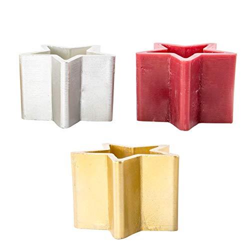 Item International Portavelas de Cera Decoración Navidad con Forma Estrella 18,5 cm Soporte Decorativo para Velas Colores Dorado Rojo Plata