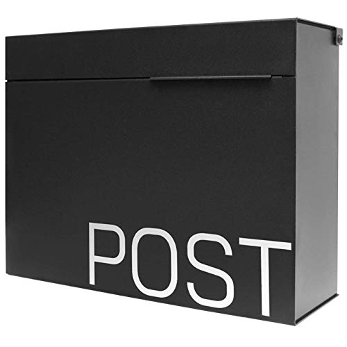 Movo Home Herman Mailboxes Large Modern Mailbox (Matte Black)
