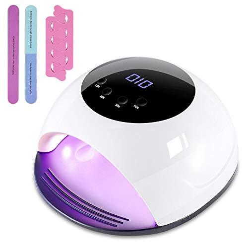 120W Lampara Led Uñas, Winpok Lámpara LED UV Uñas, Lampara UV LED Uñas para Esmalte de Uñas de Gel, Secador de Uñas Rápido con Función de Temporización - 10S / 30S / 60S/120S