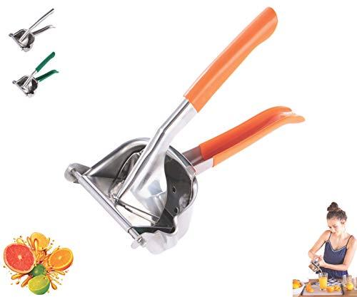 Lightweight Stainless Steel Manual Fruit Juicer Lemon Squeezer w/Rubber Handle | Citrus Lime Orange | Premium Hand Press Extractor Tool | Heavy Duty (Orange)