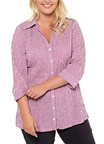 Ulla Popken Damen Bubblebluse, Streifen, bügelfrei, 3/4-Arm, bis 66/68 Bluse, Gelb (Gelb 62), (Herstellergröße: 50+)