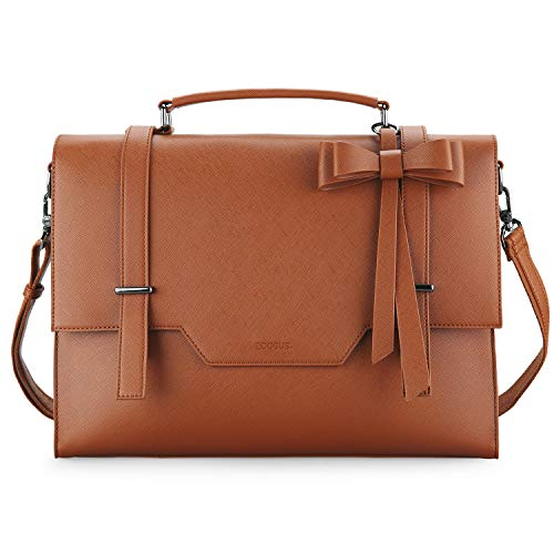 Aktentasche Damen ECOSUSI Leder Laptoptasche Vintage Übergroße Arbeitstasche 15,6 Zoll Elegante Lehrertasche mit Abnehmbarer Schleife, Schultasche Umhängetasche für Arbeit,Schule