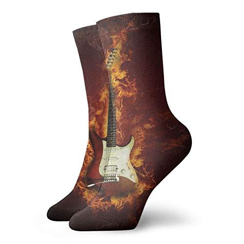 Calcetines suaves de longitud media pantorrilla, guitarra eléctrica en llamas, concepto de...
