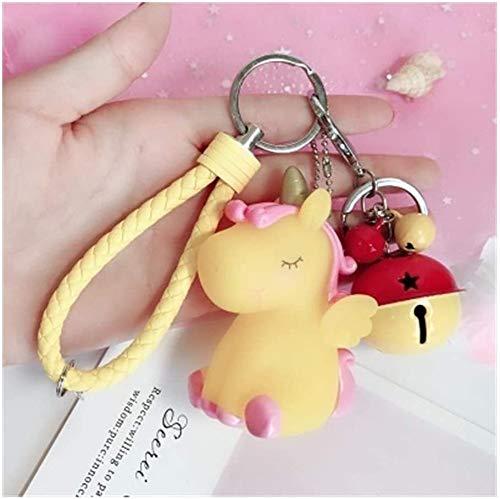LLZYZJ Car Key Ring Pendant Keychain Pendant Cute Plush Pompom Unicorn Round Ball Pom Pom Key Chain Trinket Car Bag Bell Gift Porte Clef (Color : 5)