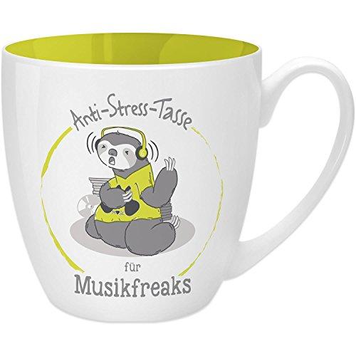 Gruss & Co 45517 Anti-Stress Tasse für Musikfreaks, 45 cl, Geschenk, New Bone China, Gelb, 9.5 cm