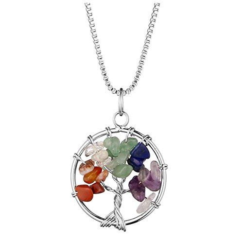 CrystalTears Lebensbaum Anhänger Silber Wire Wrap 7 Chakra Trommelsteine Pendant mit 24'' Halskette Healing Reki Baum des Lebens Edelstein Schmuck