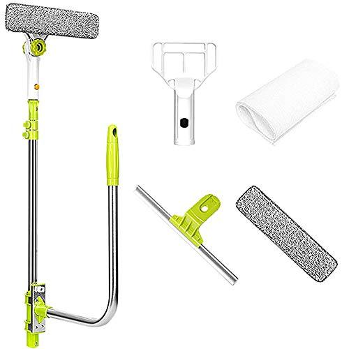 Limpiacristales de mango largo tipo U, herramienta de limpieza de ventanas profesional...