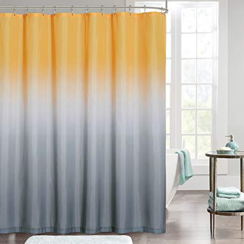 NICETOWN Duschvorhang 180x180 cm Antischimmel Duschvorhang mit Farbverlauf Gelb+Grau für Badewanne/Dusche Shower Curtains mit 12 Haken