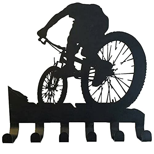 Rack de Engranajes de Bicicleta de montaña, Arte de Pared, con Gancho, decoración de Pared de Metal, Bicicleta de montaña, Arte, Silueta, Adhesivo de Pared Tallado para decoración del hogar (1pcs)