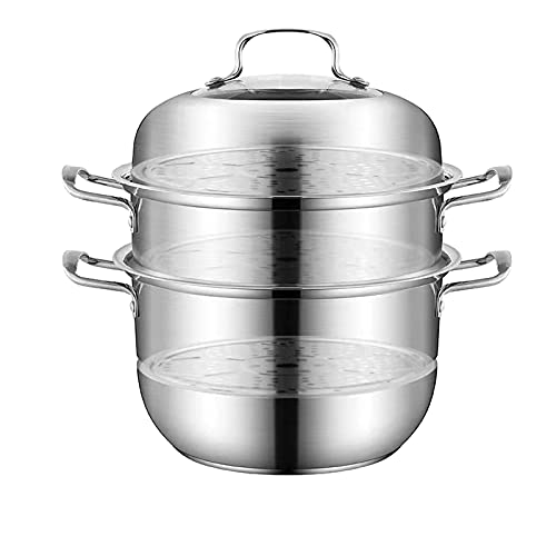 Juego de asadores seguros de vapor de vidrio templado con tapa de acero inoxidable de 3 niveles, apto para lavavajillas y verduras tamales, 13 pulgadas