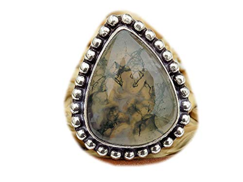 The Best Jewellery Moss Agate Ring, Silver Plated Ring, Handmade Ring, Women Jewelry, (Size- 8 USA) BRS-11754