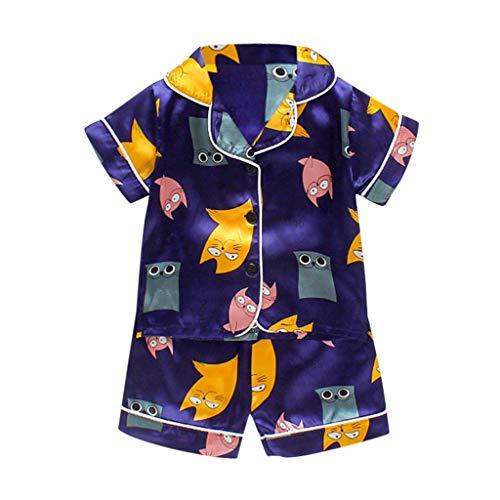 Julhold Conjunto de ropa de dormir para recién nacido, camiseta de pantalones cortos, conjuntos de ropa para niños y niñas