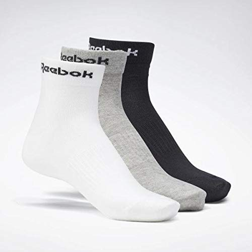 Reebok Act Core Ankle Sock 3P Calcetines, Unisex Adulto, brgrin/Blanco/Negro, S
