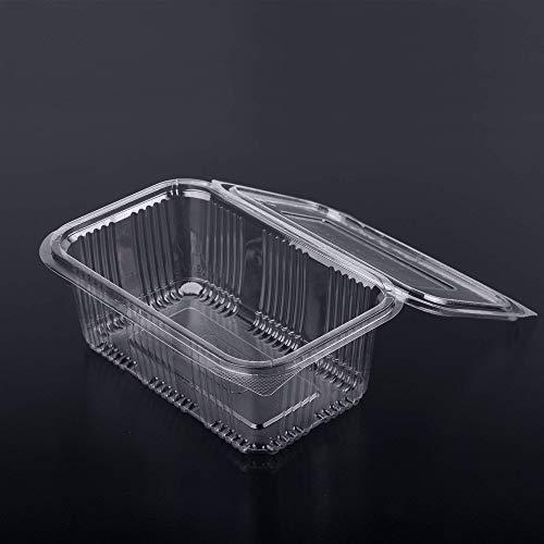 (Packung mit 80 Stück) 1000 ml Salataufbewahrungsbehälter Rundklappbar Fast Food Einweg-Plastikdeckel aus durchsichtigem Karton Aufbewahrungsschalen Cafe Restaurant