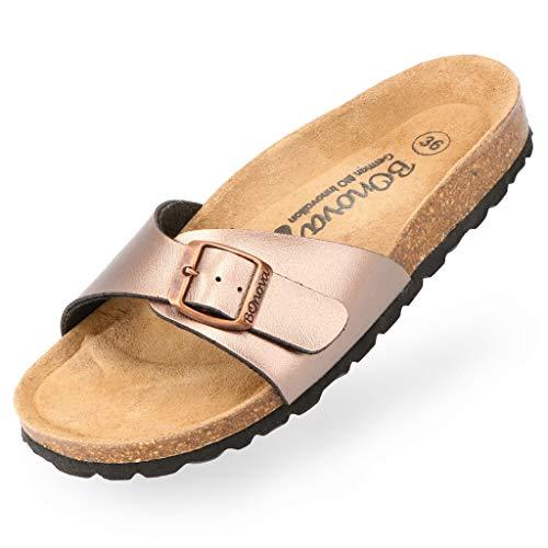 BOnova Damen Pantoletten Teneriffa in 10 Farben, modischer Einriemer mit Korkfußbett - komfortable Sandalen zum Wohlfühlen - hergestellt in der EU Bronze 39