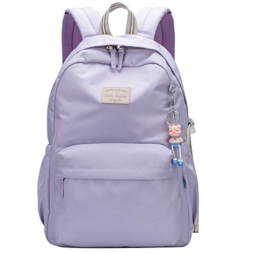 Casual Daypack Light School Backpack Canvas Bookbag 14' Laptop Backpack Travel Daypack (Purple)